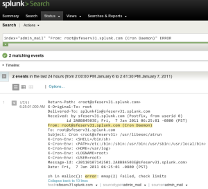 admin_mail splunk search result